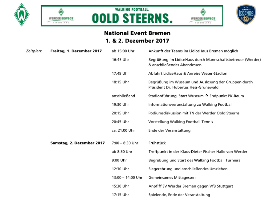 Programme National Walking Football Event, Werder Bremen